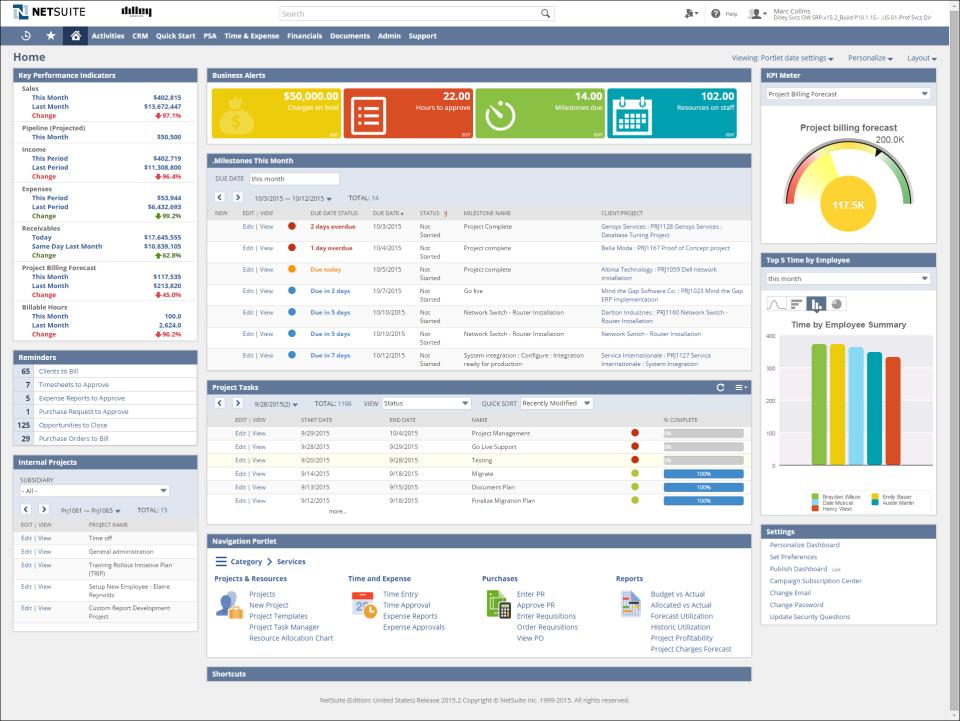 NetSuite: Home-Dashboard