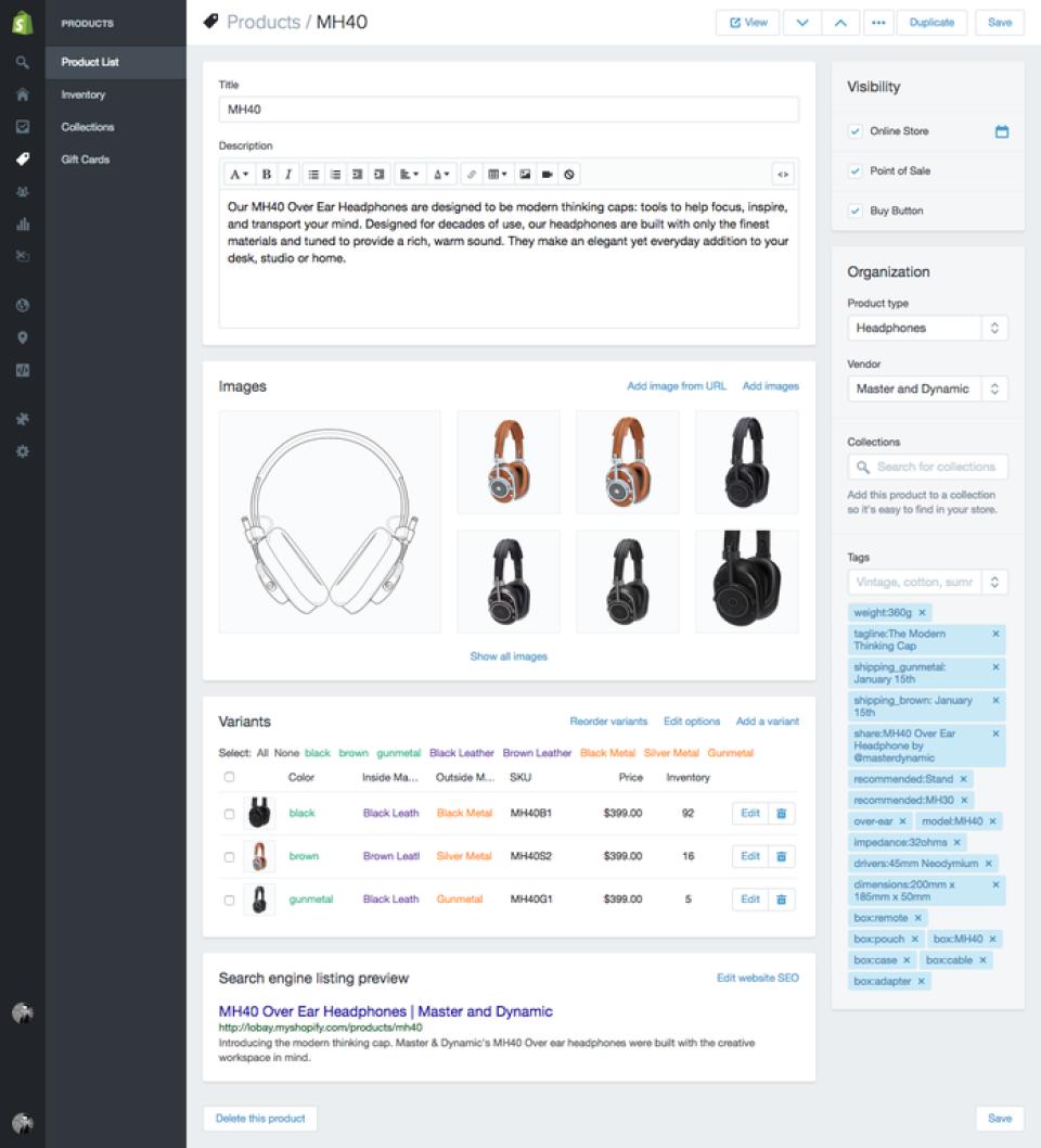 Shopify: Produktbeschreibung