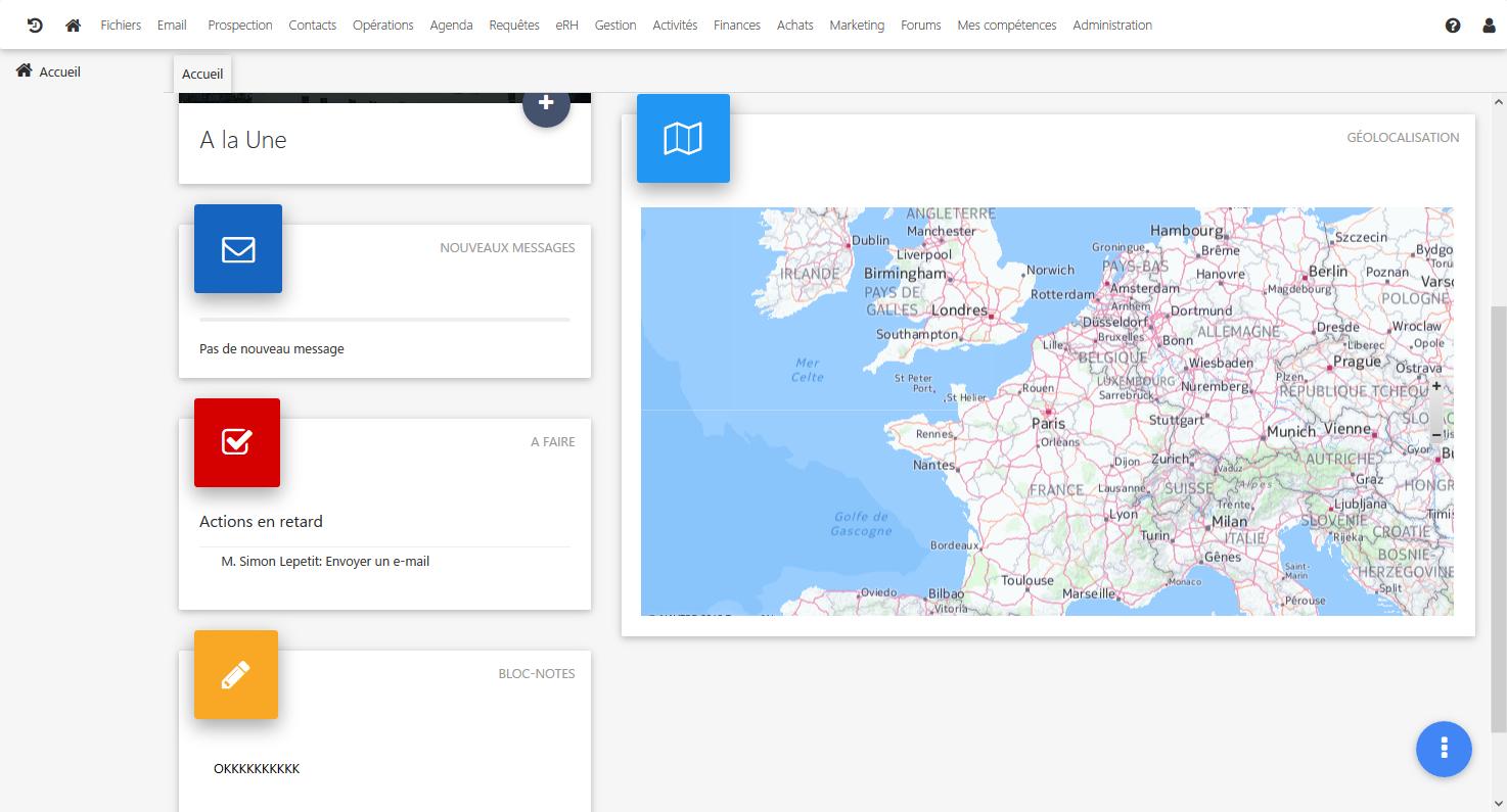 Home-Bildschirm und Geolocation