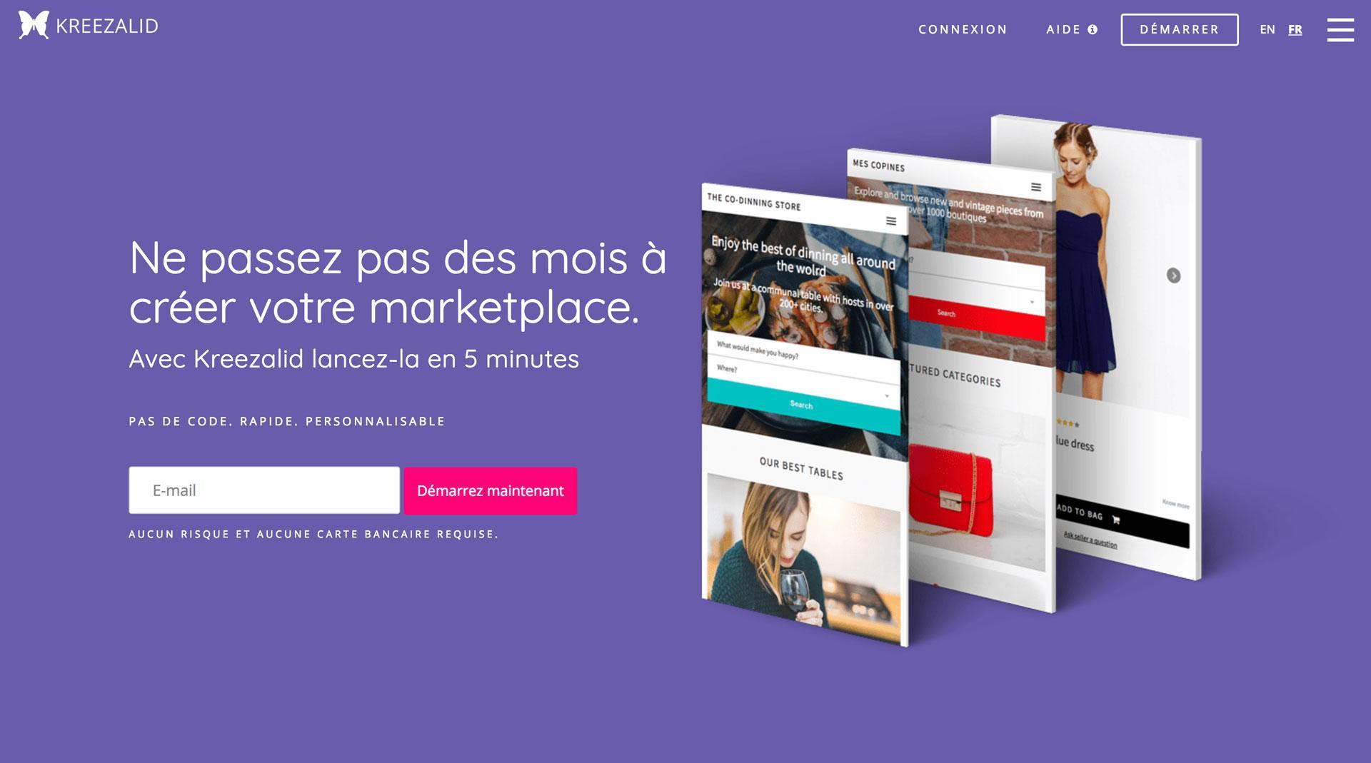 Kreezalid Homepage, die erklärt, wie man leicht bauen Sie Ihre eigenen Marktplatz