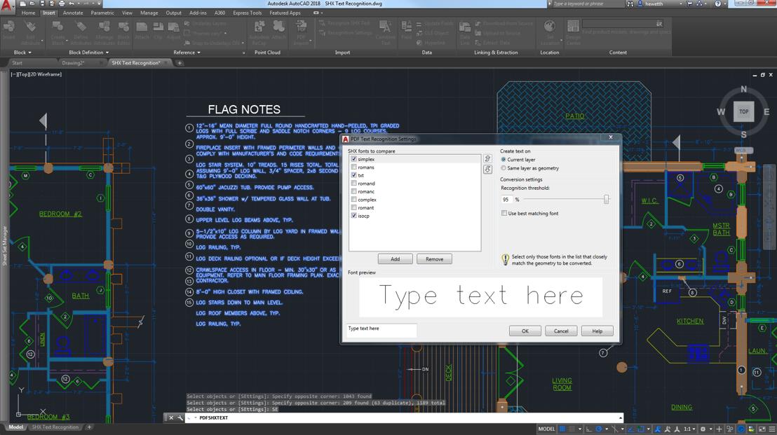 Import Geometrie oder darunter liegenden Schichten in der aktuellen Zeichnung als AutoCAD-Objekte Die neuesten Verbesserungen umfassen die Anerkennung von importierten Text SHX.