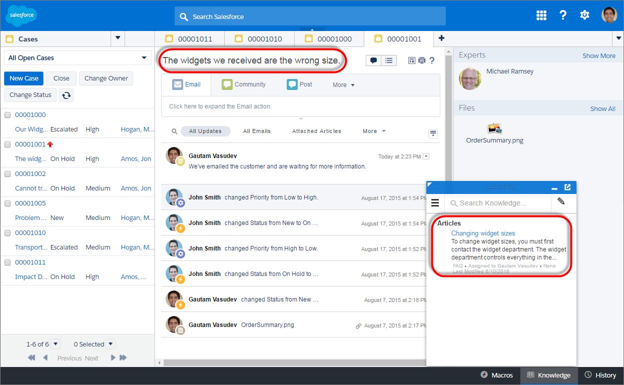 Salesforce Service Cloud Widgets Management
