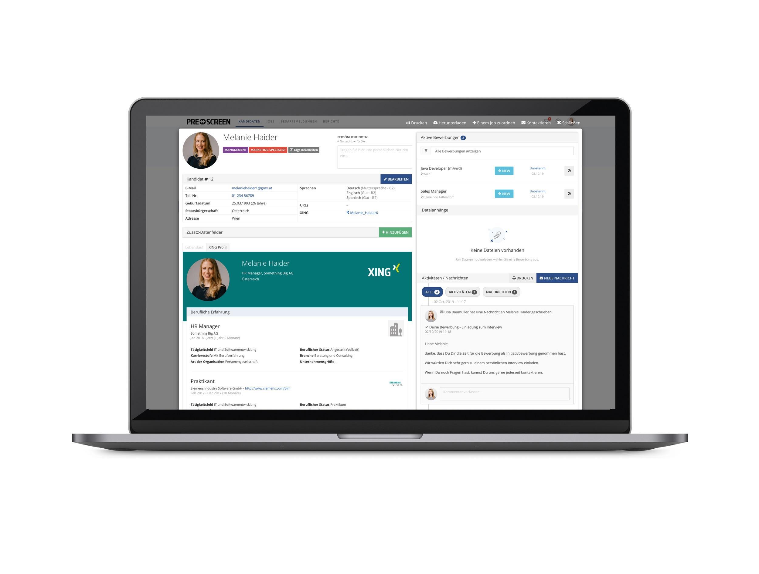 Prescreen ermöglicht eine erleichtere Verwaltung und Kommunikation mit Ihren Kandidat_innen.