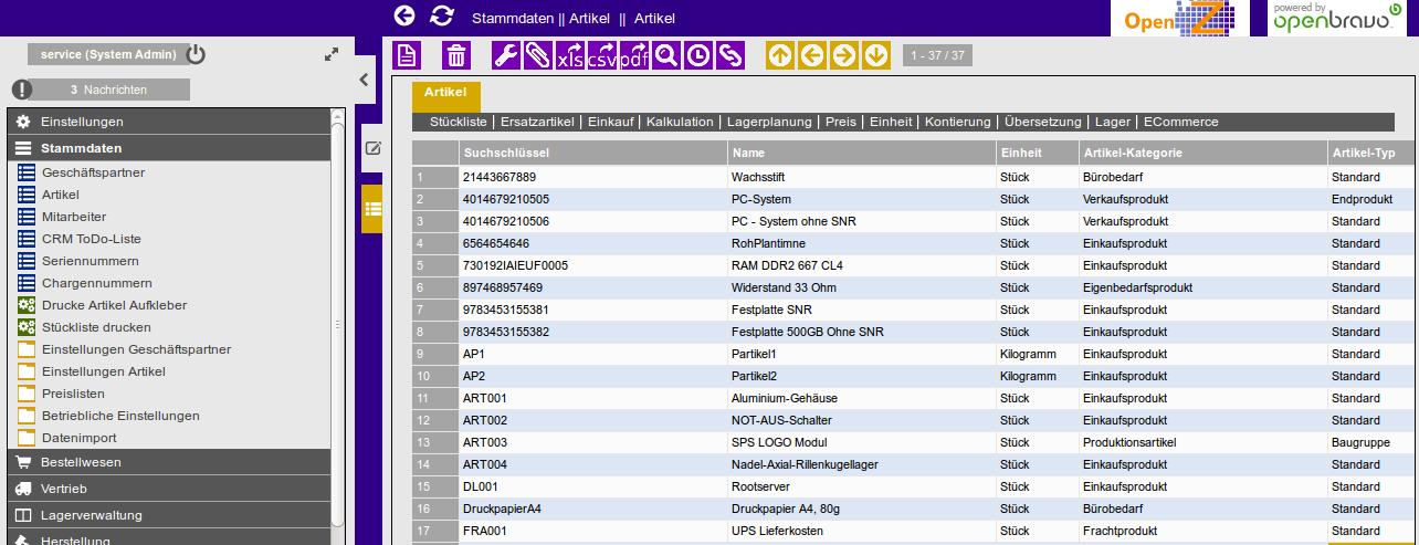 OpenZ Stammdaten-Liste