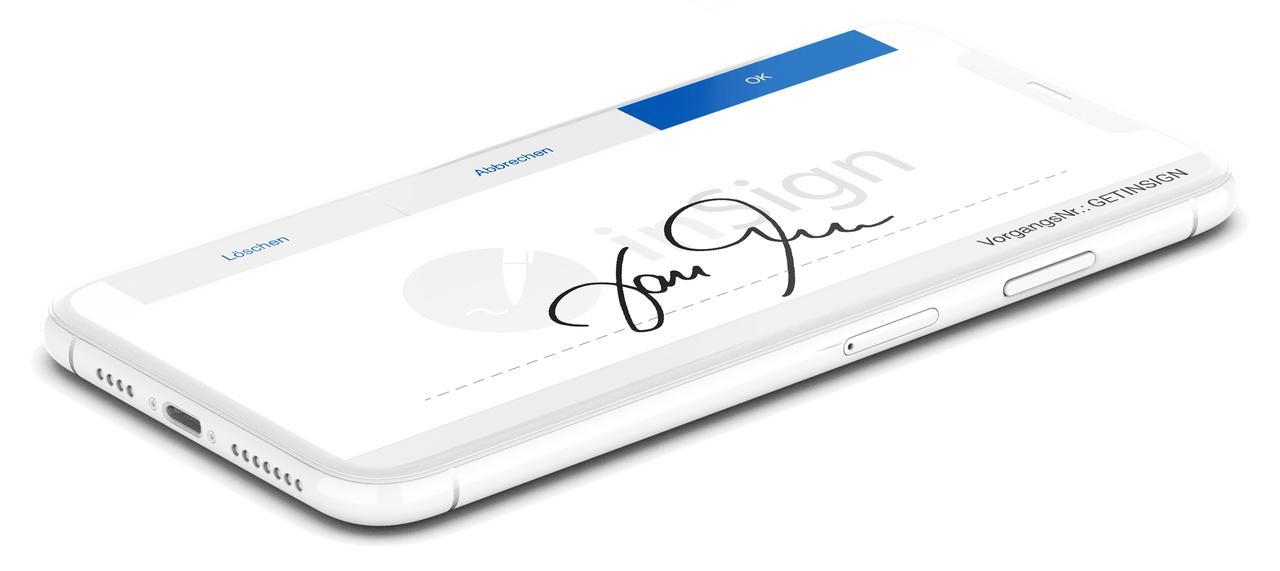 Unterschrift auf dem Smartphone