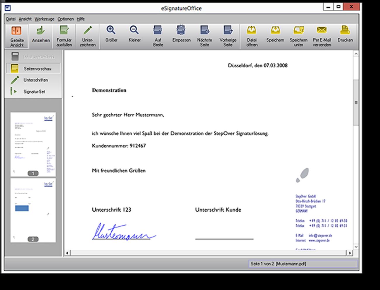 Die Signaturlösung zum Unterzeichnen von PDF/A-Dokumenten  eSignatureOffice ermöglicht das Anzeigen und Unterzeichnen von PDF/A-Dokumenten. Zudem können Formularfelder in eSignatureOffice ausgefüllt und abgespeichert werden.
