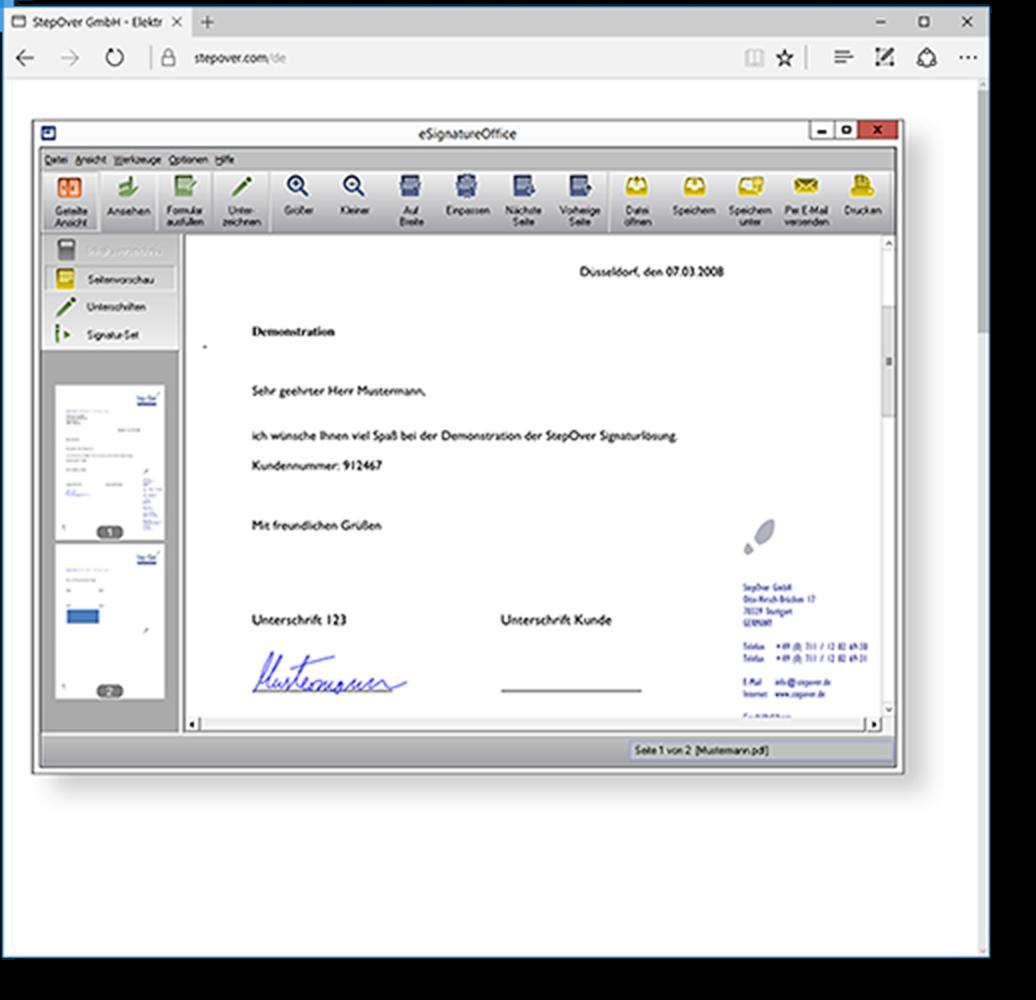 Webfähigkeit - eSignatureOffice lässt sich natürlich auch über einen sogenannten Link handler von Ihrer Webanwendung aus aufrufen.