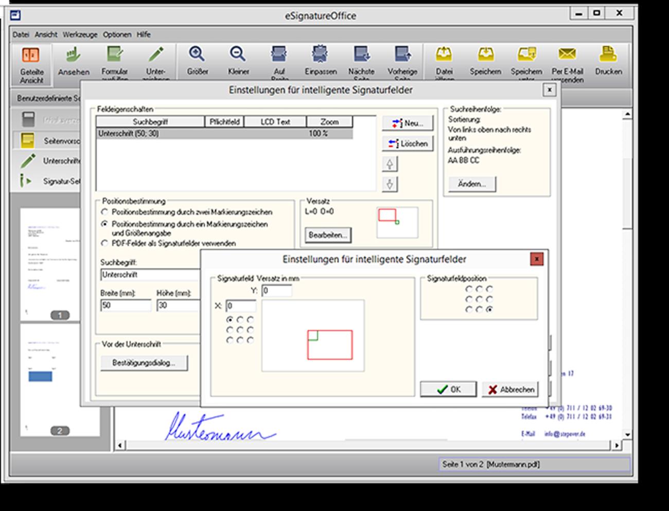 Automatisierung durch intelligente Signaturschablonen  Die intelligenten Signaturschablonen helfen Ihnen, automatisiert Unterschriften zu erfassen und diese an der richtigen Stelle in Ihrem elektronischen Dokument einzufügen.