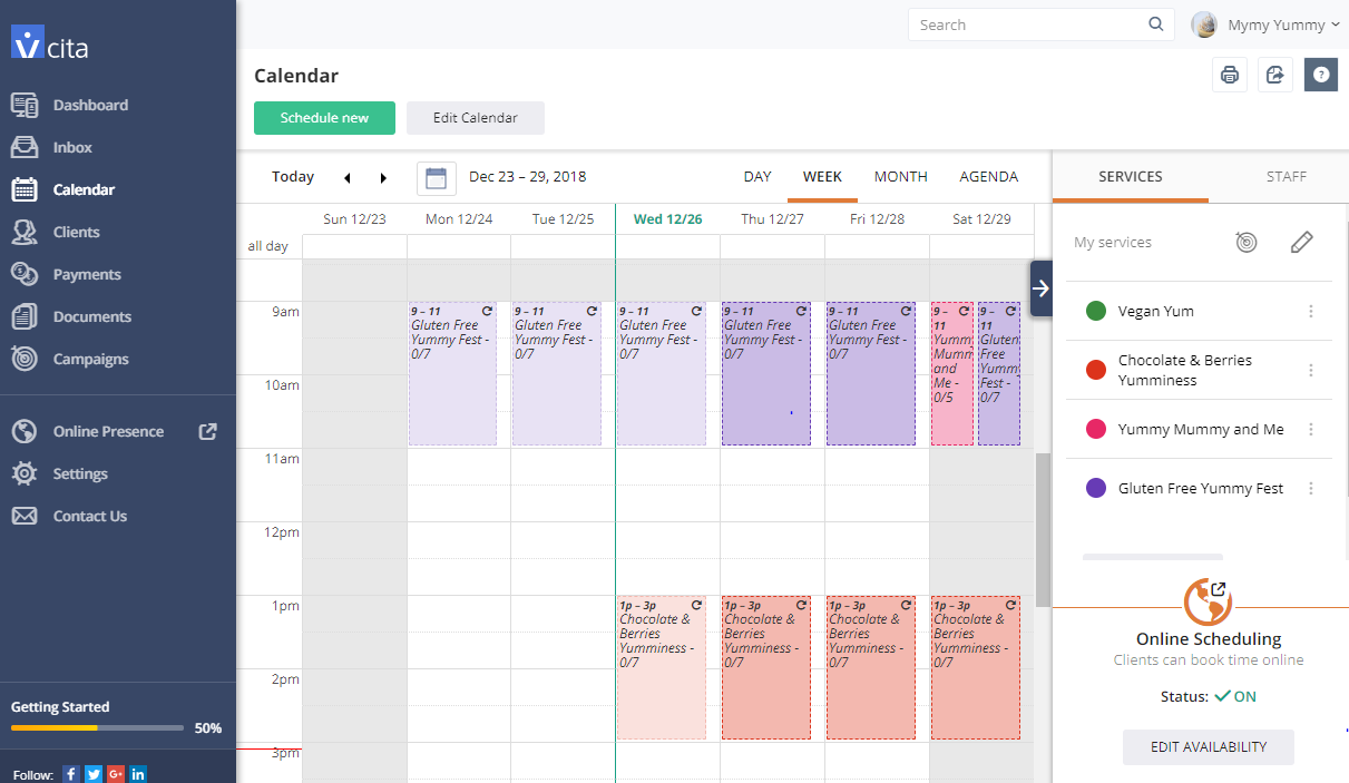 vcita-online calendar with events