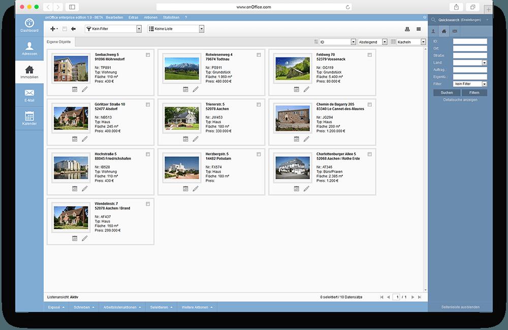Immobilienansicht (Kachelansicht) innerhalb von onOffice
