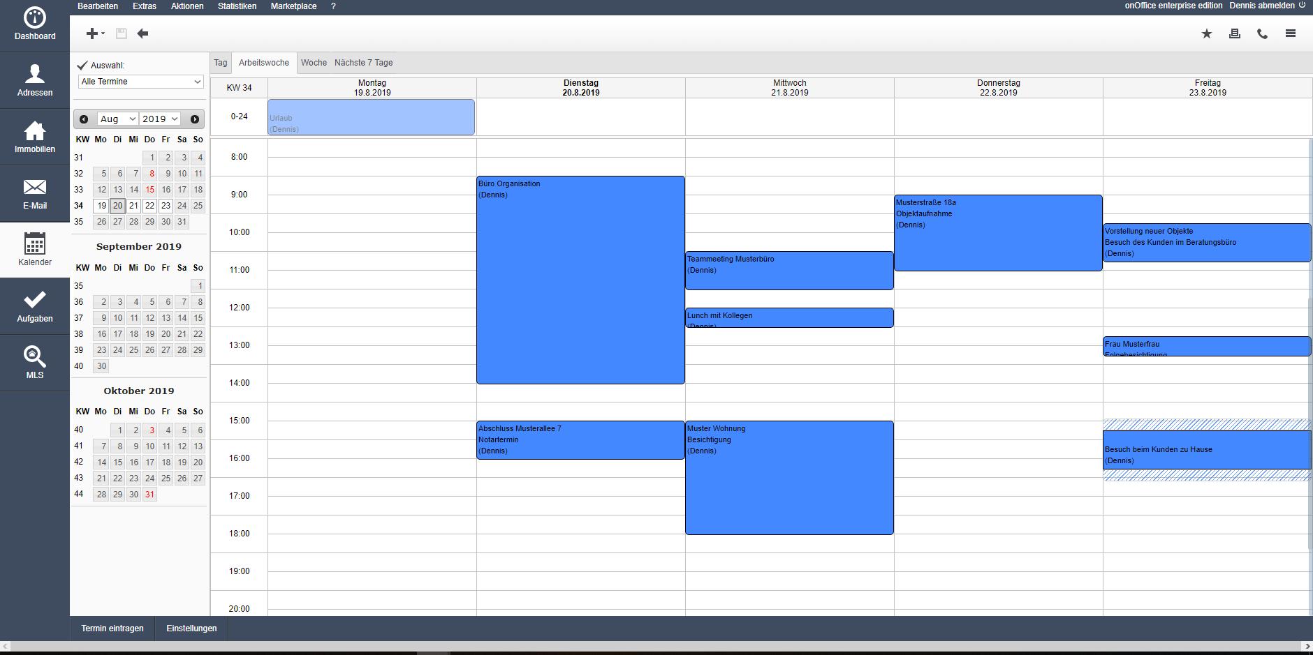 Kalenderansicht in onOffice
