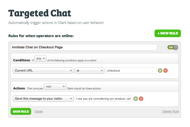 Olark: Überwachung der Kundenzufriedenheit, Unterstützung (Telefon, E-Mail, Ticket), Gemeinschaft (FAQs, Forum)