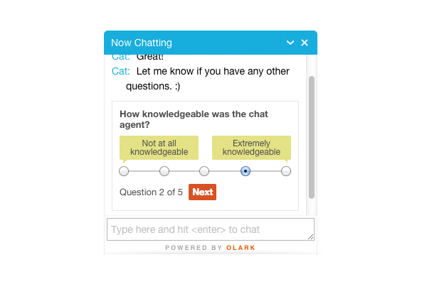 Olark: Unterstützung (Telefon, E-Mail, Ticket), Live Chat, Help Desk
