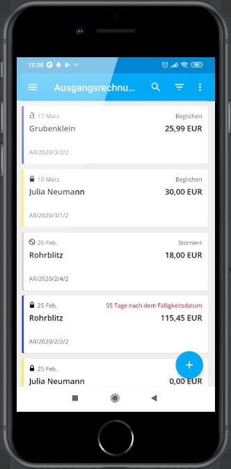 Rechnungsübersicht in der ERP XT-App