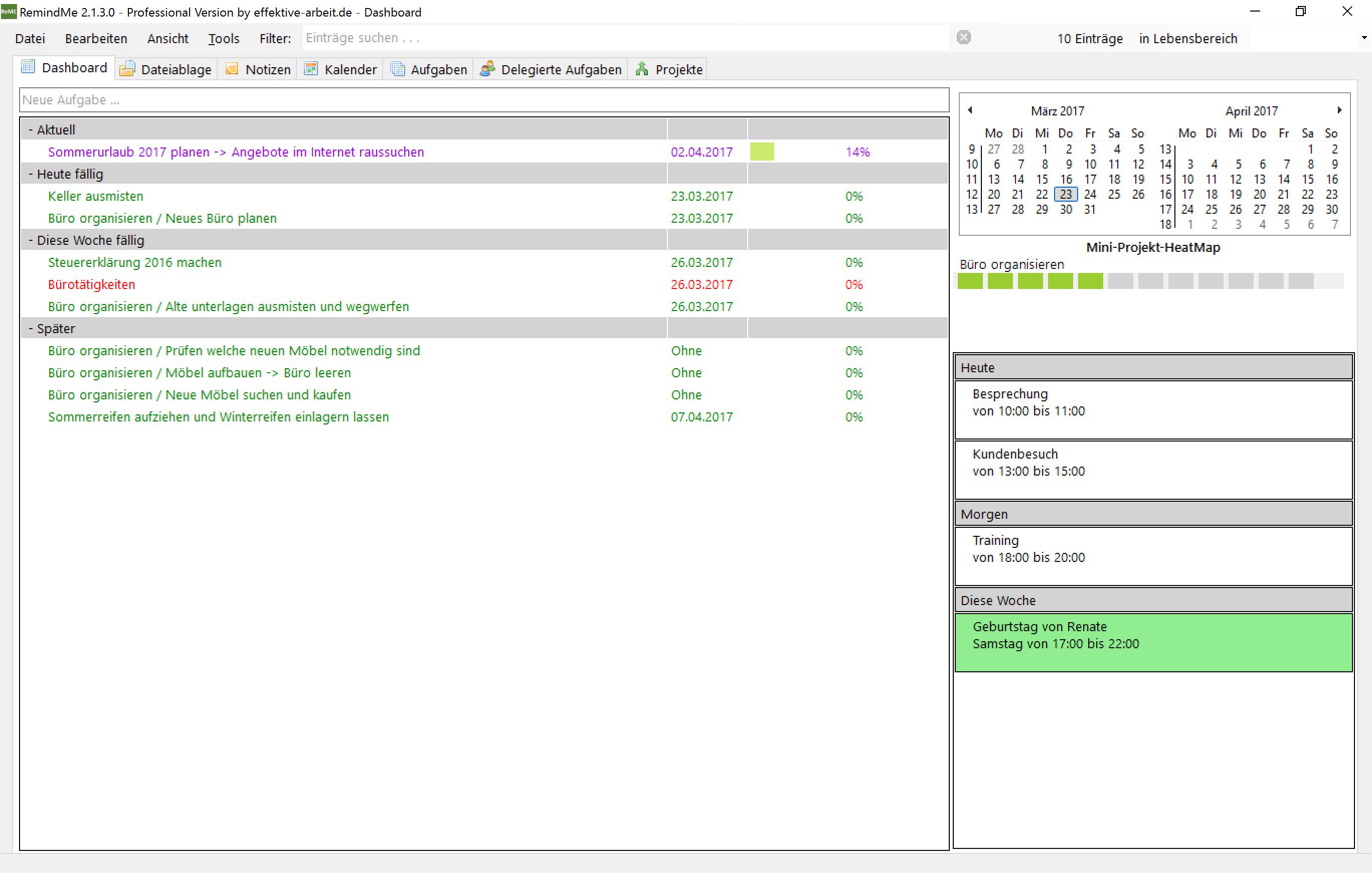 Das Dashboard - Übersicht über alle anstehenden Aufgaben