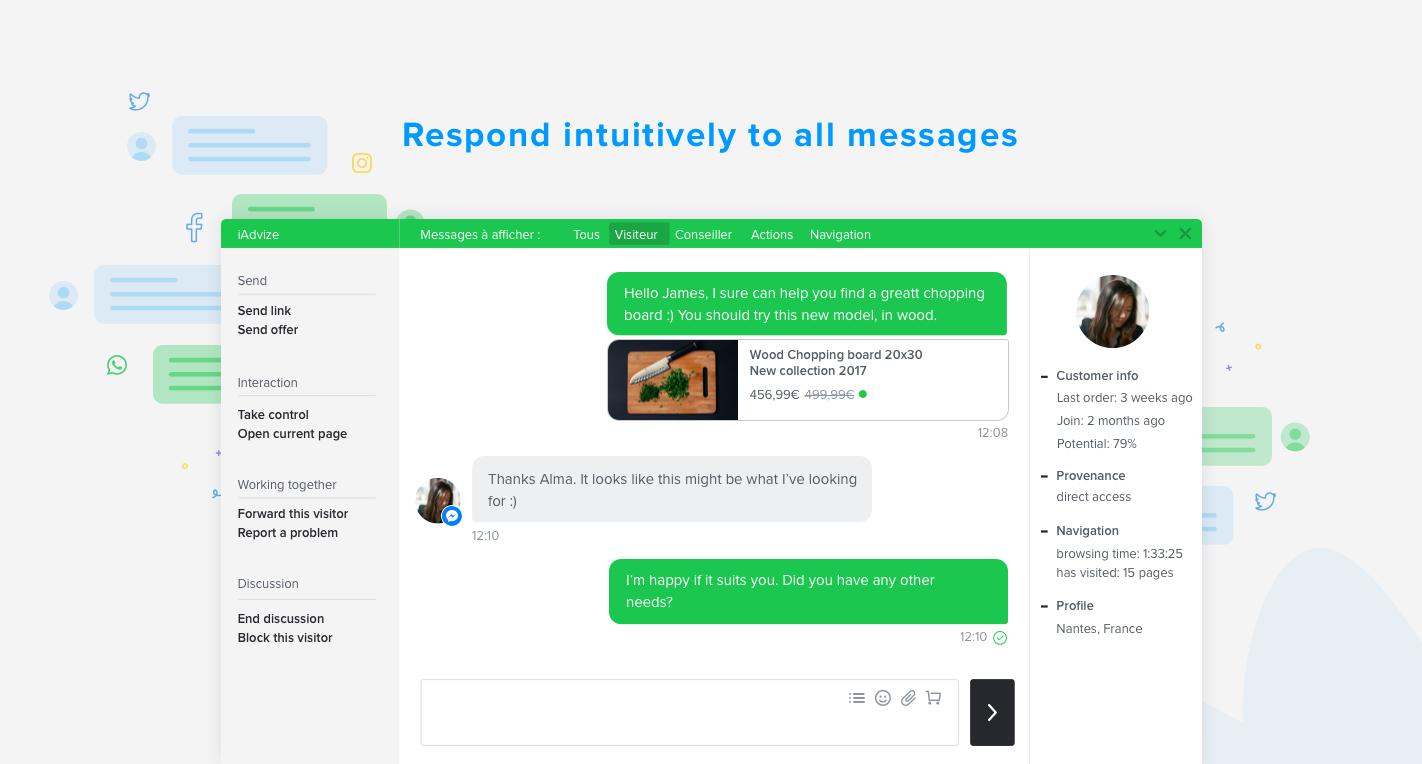 Starten Sie ein Gespräch mit Ihren Kunden in Echtzeit über alle Kanäle über eine einzige Plattform