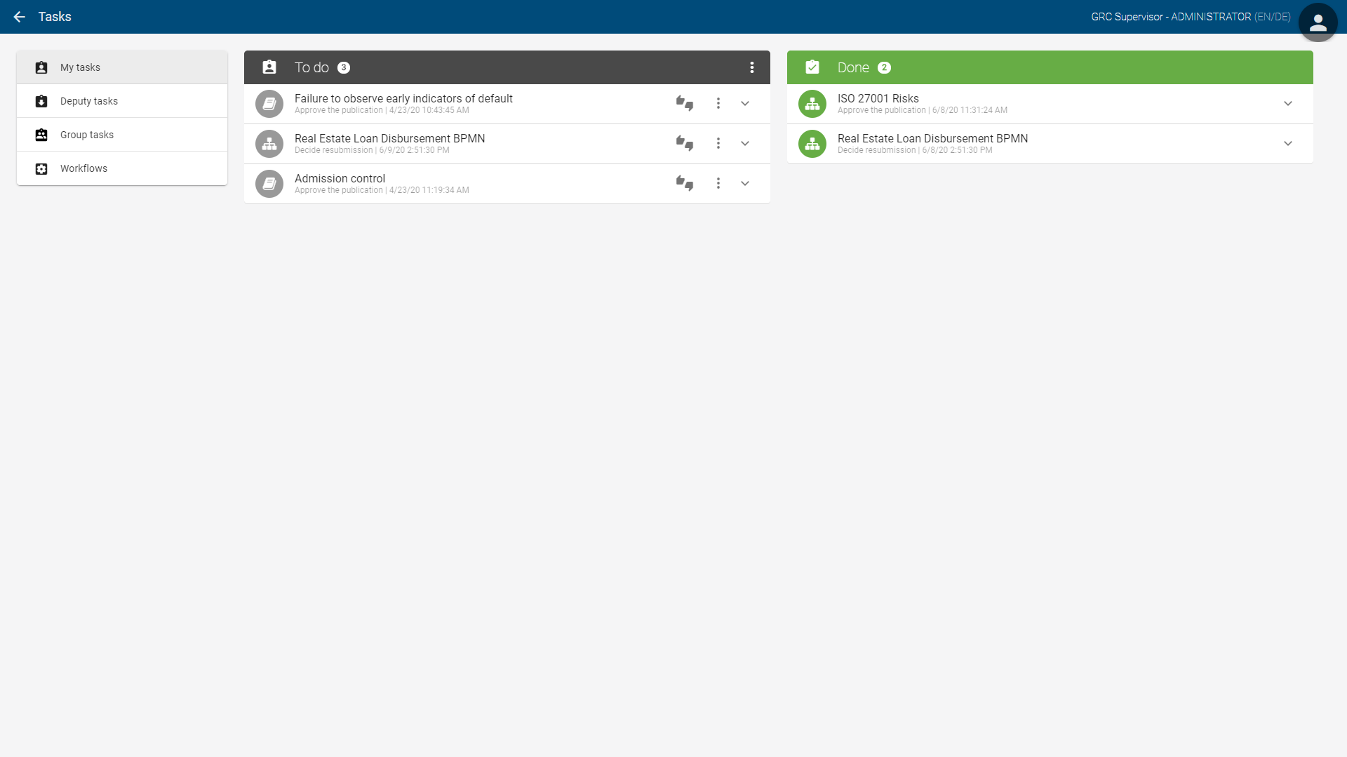 Task-Workflow mit BIC Process Design