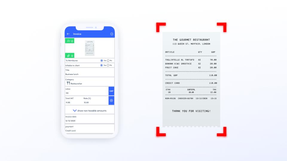 Expensya: Schnell-Scan mit OCR+ Technologie für Geschäftsausgaben, Spesen, Verpflegungskosten und Fahrtkosten