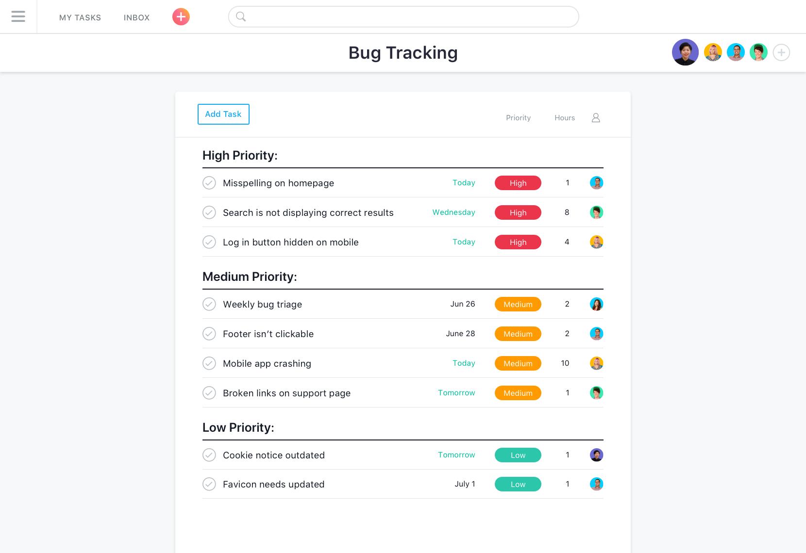 Asana Bug-Tracking