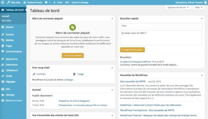 Wordpress: Dashboard mit allen Inhalten